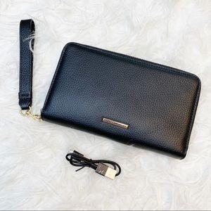 REBECCA MINKOFF Black Leather Regan Wristlet